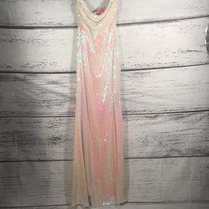 A'Gaci strapless mermaid sequence slit maxi dress